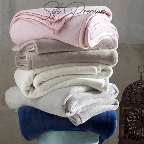 Cobertor Queen 600g Soft Luxo Naturalle Raschel Perola