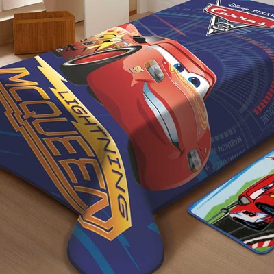 Cobertor Raschel Infantil Solteiro Carros Racing Jolitex