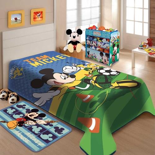Cobertor Raschel Solteiro Mickey Futebol Disney Jolitex