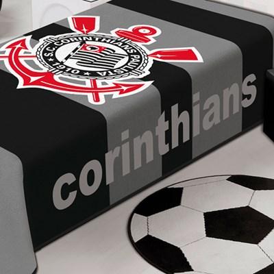 Cobertor Solteiro Jolitex Raschel Corinthians Listrado