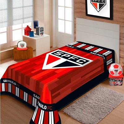 Cobertor Solteiro Raschel São Paulo Tricolor Jolitex