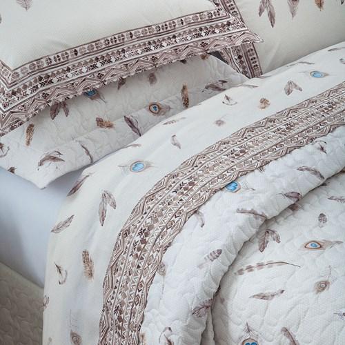 Colcha Cobreleito Casal 3 peças 100% algodão Percal 200 Fios Tribal Sultan