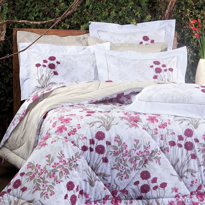 Colcha Cobreleito Queen 3 peças 100% algodão Percal 200 fios Botanic Sultan