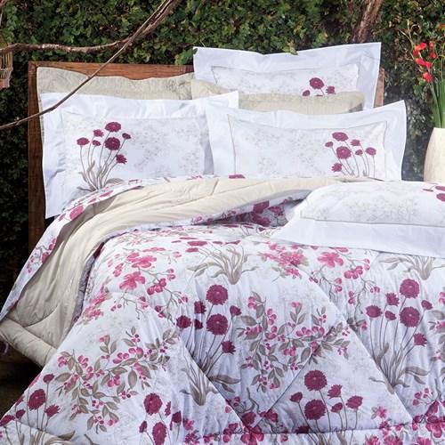 Colcha Cobreleito Solteiro 2 peças 100% algodão Percal 200 Fios Botanic