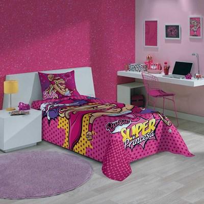Colcha Infantil Simples Barbie Super Princesa Lepper.