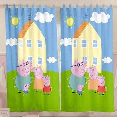 Cortina Infantil para Varão Família Peppa Pig 2 peças Lepper