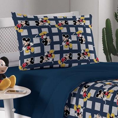 Edredom Solteiro Malha Dupla Face Disney Mickey Mescla Portallar