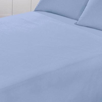 Jogo de Lençol Santista Liso Prata Casal Azul 150 Fios 100% Algodão