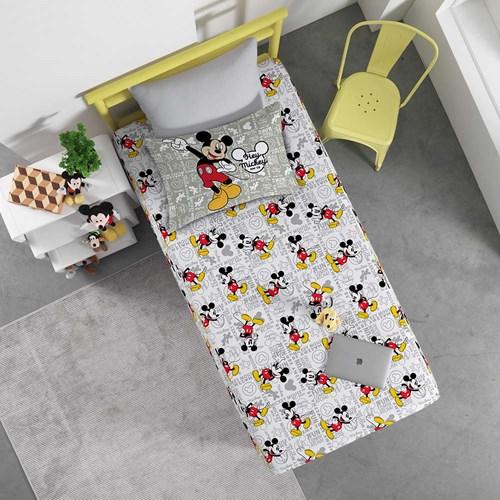 Jogo de Lençol Solteiro Disney Mickey Minnie Malha Portallar