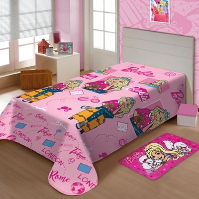 Manta Disney Soft Solteiro 1,50 x 2,00m Barbie Viagens Jolitex