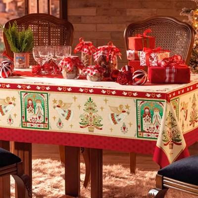 Toalha de Mesa Karsten 100% Algodão Natal Quadrada Centro Presépio de Natal