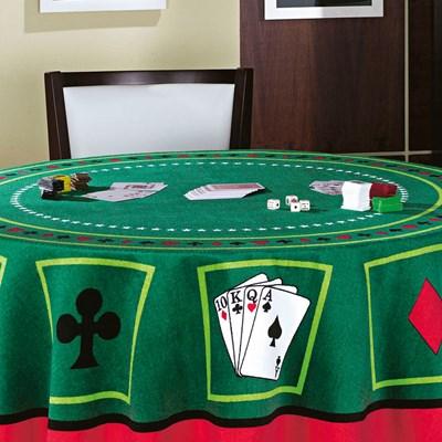 Toalha de Mesa Redonda Para Jogos Teka Cassino Cartas