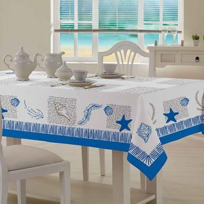 Toalha de Mesa Teka Quadrada 1,40m x 1,40m Valência Ocean Azul