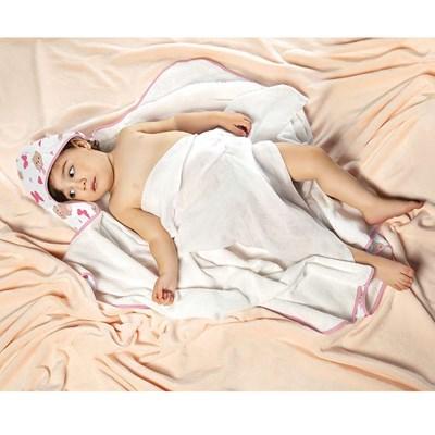 Toalha Felpuda de Banho C/Capuz e Fralda Lepper Baby